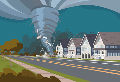 illustration of a tornado or hurricane destroying a house